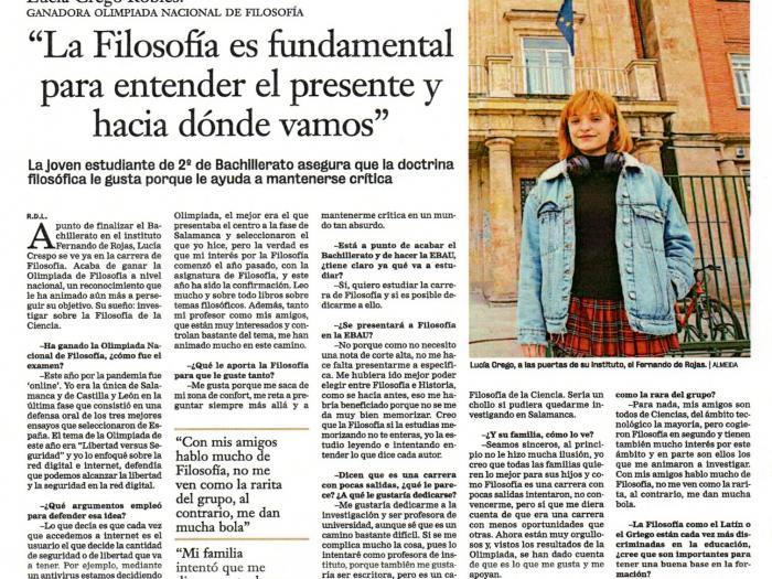 Lucía Crego Robles gana la Olimpiada Filosófica de España en la modalidad de disertación