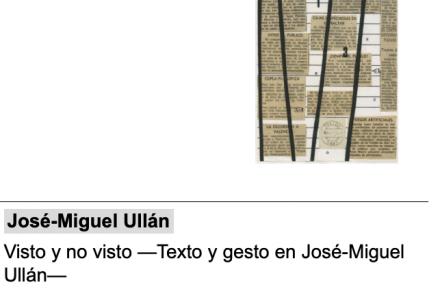 Visto y no visto –Texto y gesto en José-Miguel Ullán–